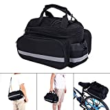 Bike Pannier Bag, Practical Bicycle Rear Seat Trunk Handbag Expandable Excursion Cycling Carrying Luggage With Reflective Stripe, Rainproof Cover- Black