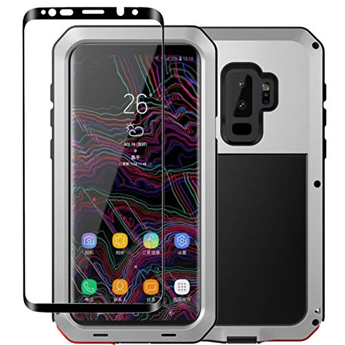 Galaxy S9 Case,Tomplus Armor Tank Aluminum Metal Shockproof Military Heavy Duty Protector Cover Hard Case for Samsung Galaxy S9 (Silver)