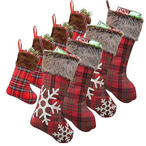 WUJOMZ Set of 8 Christmas Stockings, 18 Inches and 9 Inches Burlap with Large Plaid Snowflake and Plush Faux Fur Cuff Stockings, for Home Decor (The Best Christmas Stockings)