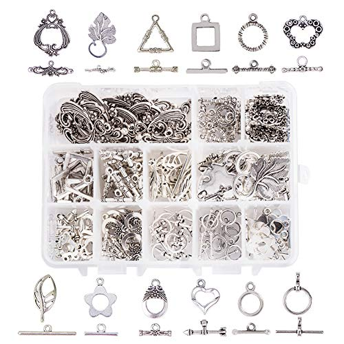 PH PandaHall 96 Sets 12 Style Tibetan Style Alloy Antique Silver Toggle TBar Clasps Findings Jewelry Making (Flower, Butterfly, Leaf, Drop, Heart, Donut, Triangle) Antique Silver Toggle Clasp
