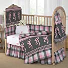 Pink Buckmark Plaid - 6 Piece Crib Set includes (Crib Fitted Sheet, Crib Bumper Pad, Crib Headboard Pad, Crib Comforter, Crib Bedskirt and Crib Diaper Stacker)