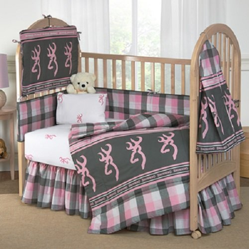 Pink Buckmark Plaid - 4 Piece Crib Set includes (Crib Fitted Sheet, Crib Bumper Pad, Crib Headboard Pad, and Crib Comforter) by Browning