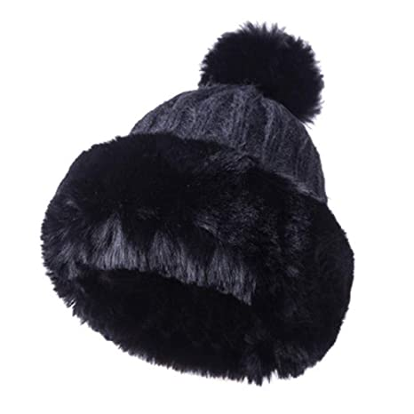 BEANIE HAT Womens Knitted Cap Bobble Pom Poms Winter Warm Earmuffs  Thickening New Soft Acrylic Winter a3522385d297