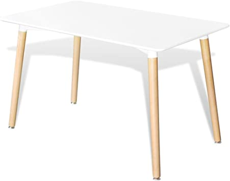 Tidyard Tavolo da Pranzo Rettangolare Bianco,120 x 70 x 73