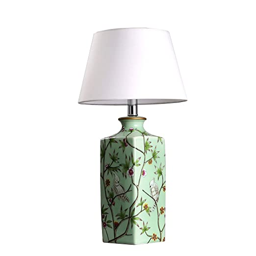 BJ Lámparas de escritorio- Pastoral Flores Pájaros Verde Lámpara ...