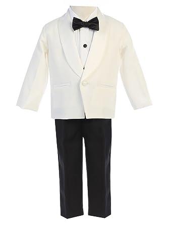 156073d1e Lito Baby Boys Ivory Black Jacket Pants Shirt Bowtie 4 Pc Tuxedo 12-18M