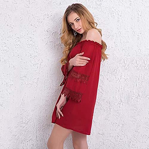 Red JIZHI A Rayas La hasta Mujer Vaina Básico Asimétrico Rodilla Vestido Color Un M fWqf7gAUr