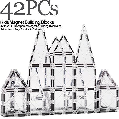cossy Kids Magnet Toys Magnet Building Tiles, 42 PCs 3D Transparent Magnetic Building Blocks Set, Educational Toys for Kids Children