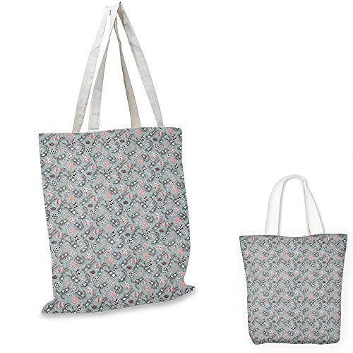 Easter non woven shopping bag Kids Toy Bunnies with Funny Expressions Ornate Spring Branches and Eggs fruit shopping bag Bluegrey Coral Black. 12