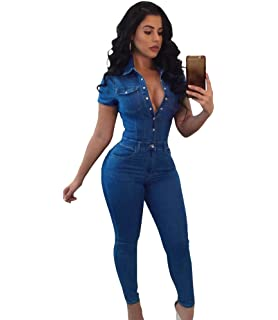 0d556dffd728 Jitong Women s Long Denim Overalls Button Down Short Sleeves Skinny Jeans  Jumpsuit with Pockets
