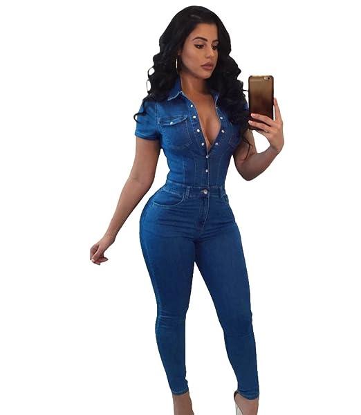 Jitong Streetwear Largo Mono Jeans de Mujer Button Down ...