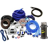 pkg Stinger 3 Farad Digital Power Capacitor and Power Pro 8500W 0 + 4 Gauge Installation 3 RCA Kit