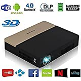 Pico 3D Wireless Bluetooth DLP Projector- Full HD 1080P Portable Dual Wifi Projector Airplay Miracast Google Play KODI 2000 Lumen for Home Theatre, Preseantation, Powerpoint, Classroom