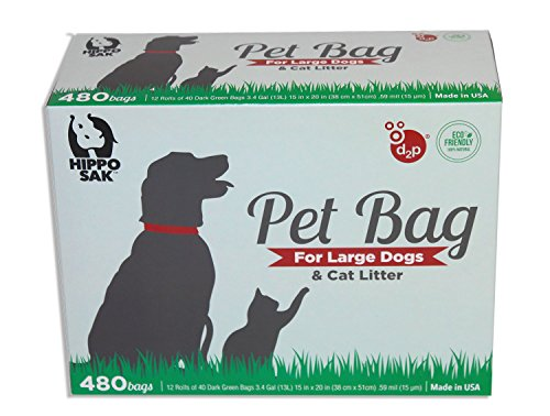 Hippo Sak  Extra Large Pet Poop Bags For Large Dogs And Cat Litter  480 Count