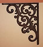 Southern Metal Set of 6 Victorian Shelf Brackets Solid Cast Iron Ornate Scroll Corbels, 9 1/4'' x 7 3/4'' Volume Priced, B-23
