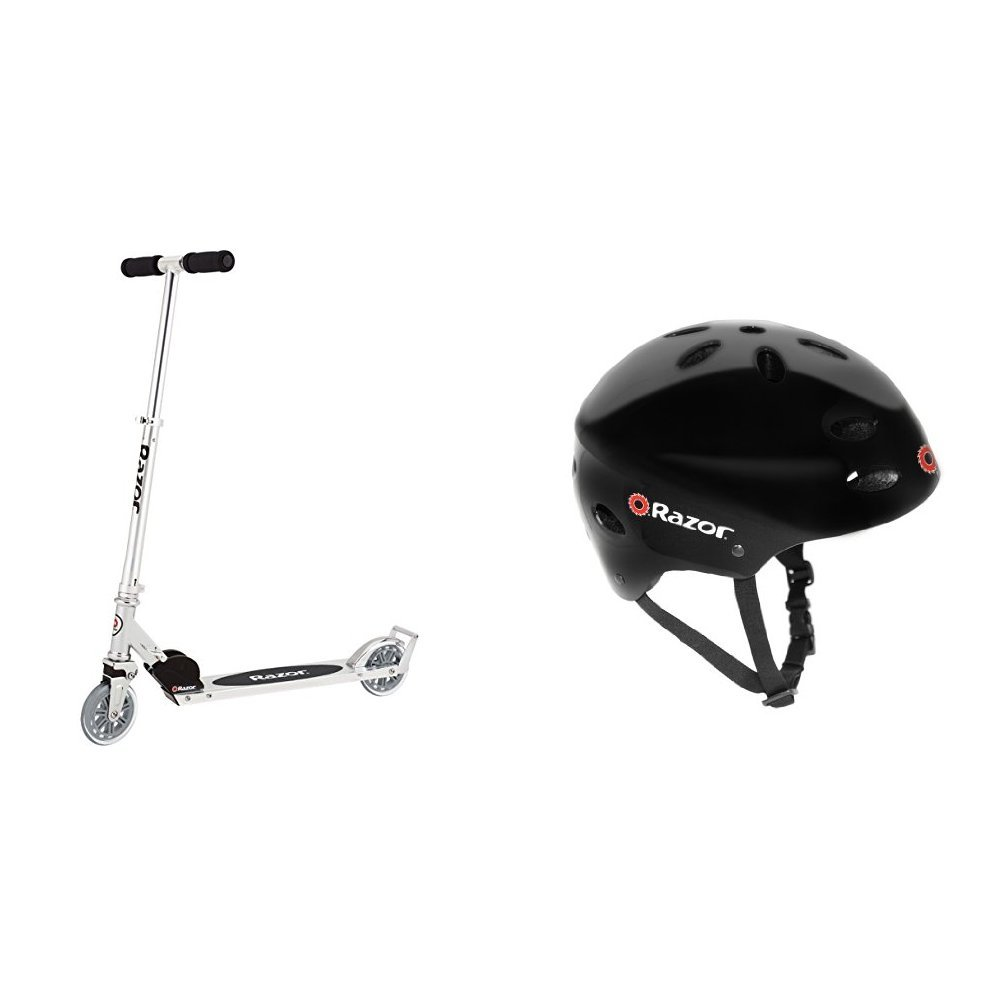 Razor A3 Kick Scooter, Clear, Frustration Free Packaging w/ Black Helmet