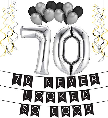 70 Never Looked So Good Birthday Party Pack – Black & Silver Happy Birthday Bunting, Balloon, and Swirls Pack- Birthday Decorations – 70th Birthday Party Supplies -
