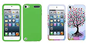 Combo pack MYBAT Solid Skin Cover (Dr Green) for APPLE iPod touch (5th generation) And MYBAT Love Tree Phone Protector Cover for APPLE iPod touch (5th generation)