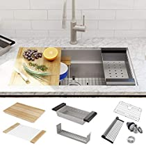 MOWA Gem Series 32 x 19 Inch Undermount Workstation Kitchen Sink - Pack of 8 w/Maple Cutting Board - 16 Gauge Stainless Steel Sink Single Bowl - 1 Ledge 2 Tiers, 8 Built-in Components