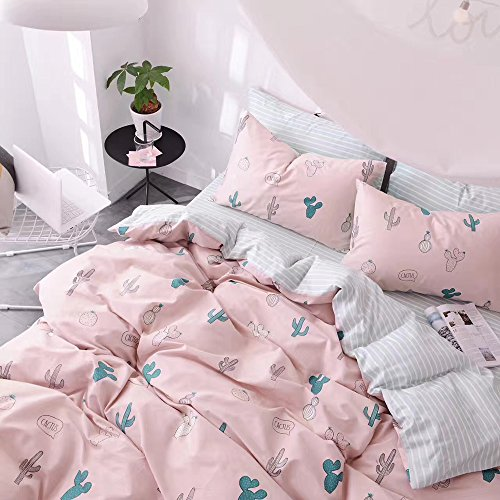 HIGHBUY Cactus Print Kids Duvet Cover Set Full 100% Cotton Pink Striped Children Duvet Cover with Zipper Closure 3 Piece Reversible Bedding Set Queen for Girls by HIGHBUY (Image #8)