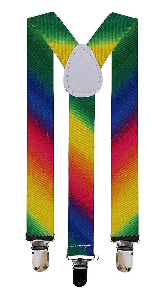 BRACES ADJUSTABLE TROUSER SUSPENDERS UNISEX FANCY DRESS(RAINBOW 2) F6-8OIS-DX90