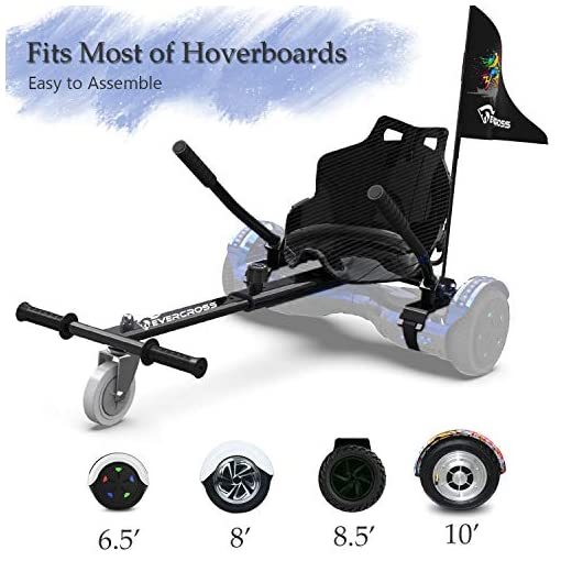 NEOMOTION Pack de Hoverboard 6.5 Pouces et hoverkart Gyropode avec Bluetooth LED Flash Hoverboards Brillant Siège Hoverseat Solide pour Scooter Cadeau et Jouet pour Enfants Ados