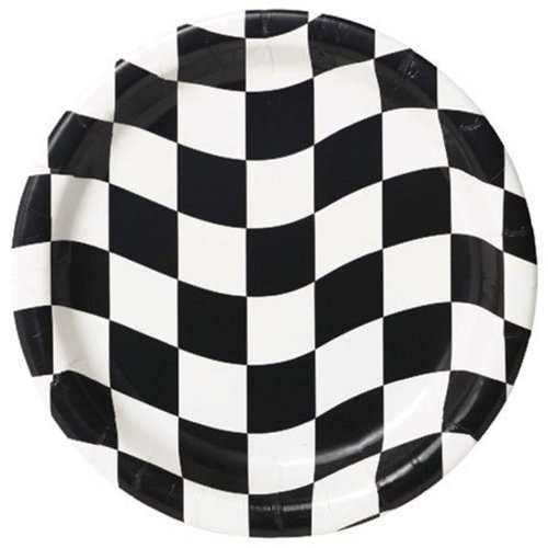 Creative Converting 8 Count Round Dessert Plates, Black and White Check (Auto Racing Checkered Flag)