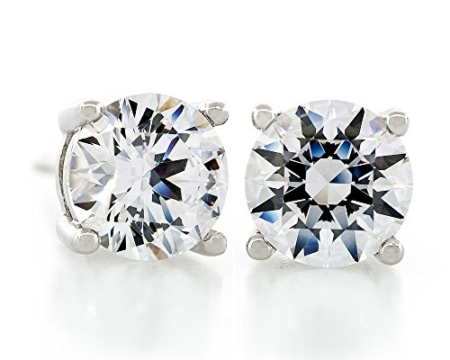 Acacia Jewelry 1.00 Carat (ctw) Swarovski Element Round Ideal Diamond Cut Crystal White Color 5mm Crystal CZ 925 Sterling Silver Heavy Mounting Stud Earrings Rhodium Plated (Earrings Silver Mountings)
