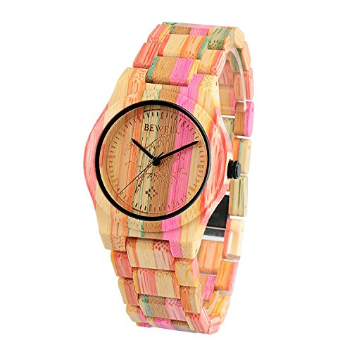 Bewell Fashion Colorful Bamboo Bangle Watch Women Lightweight Wooden Quartz Analog Wristwatch for Ladies