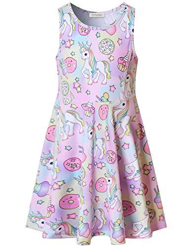 bdf72aee41 Rainbow Unicorn Dress for Girls Sleeveless Party Birthday Clothes ...