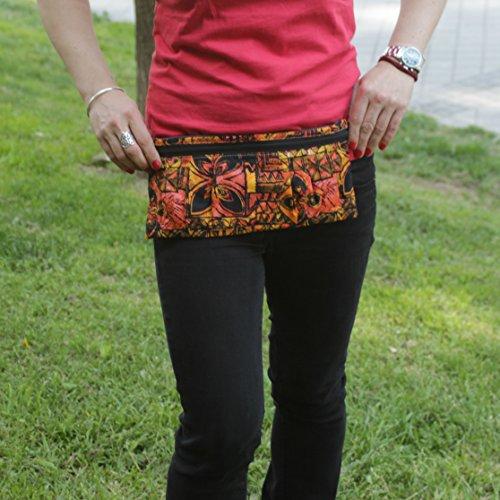 Riñonera Polinesia - Naranja y Rosa - Bolso cinturón hecho a mano en lona y algodón, cerrado con cremallera