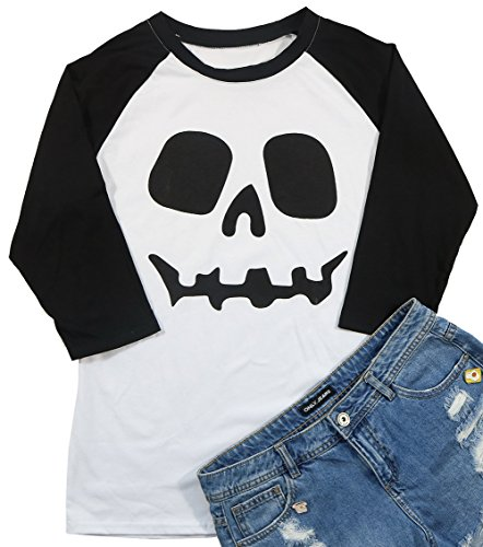JINTING Funny Easy Halloween Costume Skull Face Tshirt Tee Women Screw Neck Graphic Raglan 3/4 Sleeve Baseball Tee T-Shirt (XXL, Black) ()