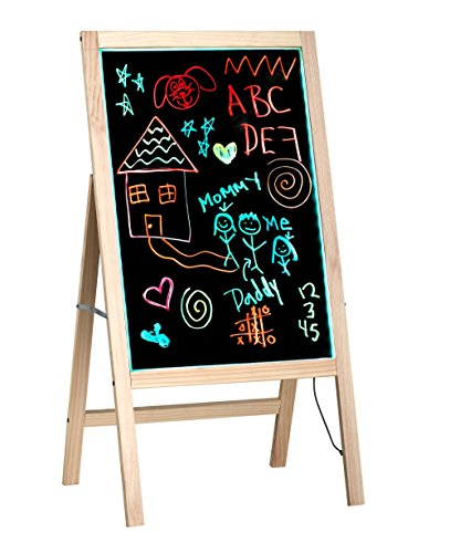 "Alpine Industries LED Illuminated Wooden Message Writing Board on an A-Stand 20"" x 28"" (Beige)"