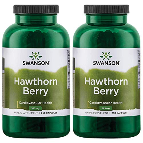 Swanson Hawthorn Berries Heart Nutrition Supplement 565 mg 250 Capsules (2 Pack)