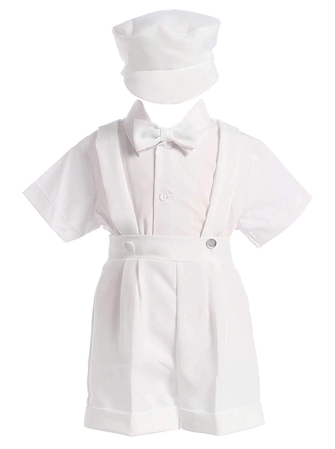 White Christening Baptism Suspenders and Short Set with Hat - size 4T