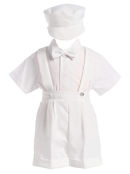 d7dd5000a Image Unavailable. Image not available for. Color: White Christening Baptism  Suspenders and Short Set with Hat ...