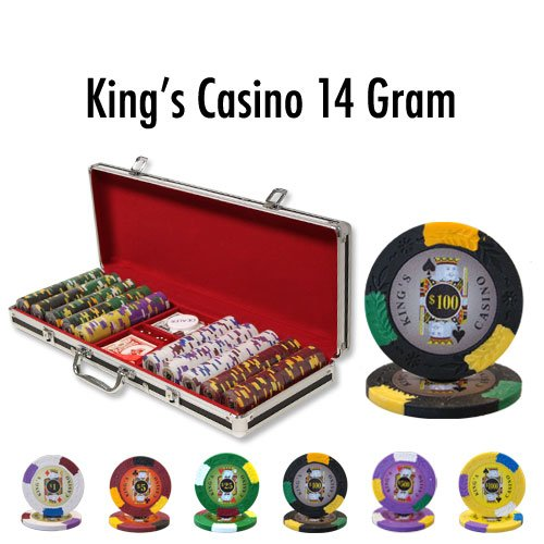 (500 Ct King's Casino 14 Gram Poker Chip Set w/ Black Aluminum Case)