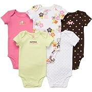 Carter's Baby Girl's 5-Pack Short Sleeve Bodysuits -Mommy's Sweetheart - 9M