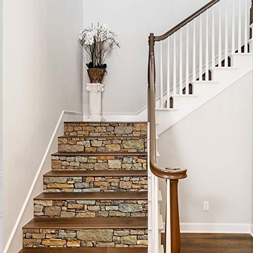 (AmazingWall 3D Stone Stair Sticker DIY Wall Mural Decorative Removable Self Adhesive Decor Art Decal Furniture Refurbished 7.1x39.4 X 6 Pcs)