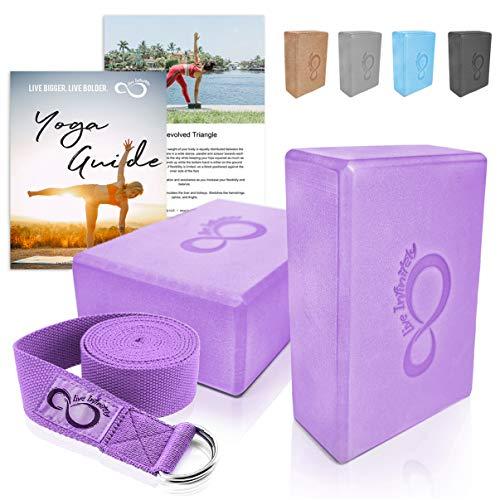 Premium Yoga Blocks & Metal D Ring Strap Yogi Set (3PC) 2 Pack High Density EVA Foam Blocks to...
