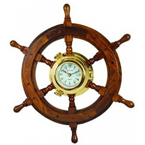 Wood Steering Wheel w Brass Clock Teak Decor 18