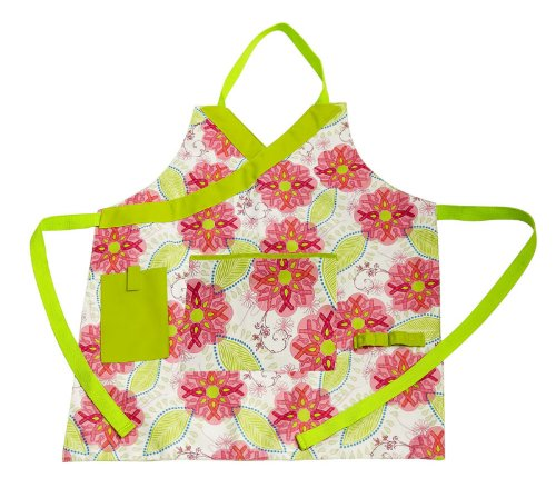Evergreen Enterprises Apron (Pink Ribbon Flowers Molly Green Garden Apron)