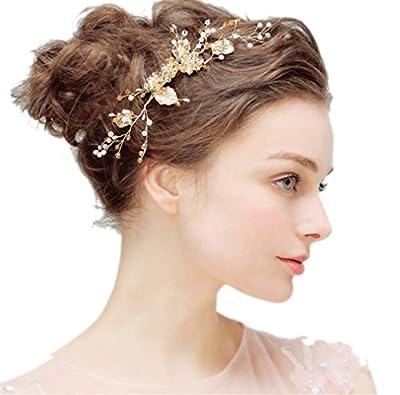 Bridal Hair Comb Side pin Headpiece Flower Leaf Rhineston Crystal Bead Wedding Hair Accessories Gold