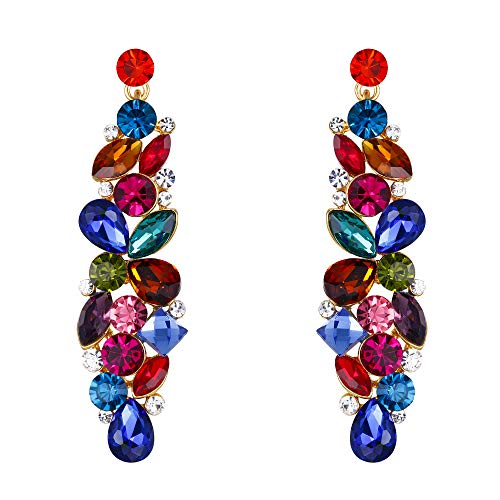 - EVER FAITH Tear Drop Flower Cluster Dangle Earrings Multicolor Austrian Crystals Gold-Tone
