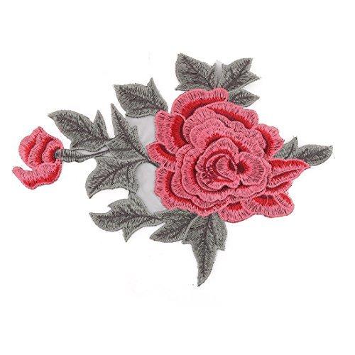 eDealMax Verde Ejrcito Rojo polister Flor del Peony del diseo de DIY de Coser ropa decoracin de Encaje apliques
