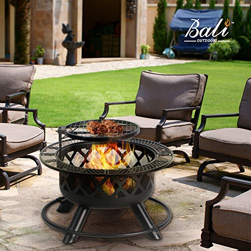 BALI OUTDOORS 32in Wood Burning Fire Pit Backyard Grill Set, Black, 24in,