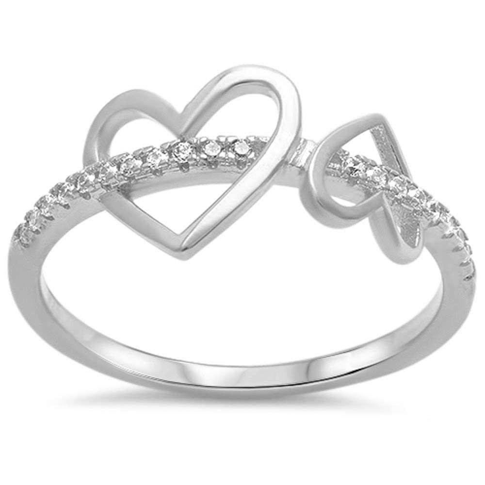 Clear Cubic Zirconia Double Plain Heart Ring Sterling Silver