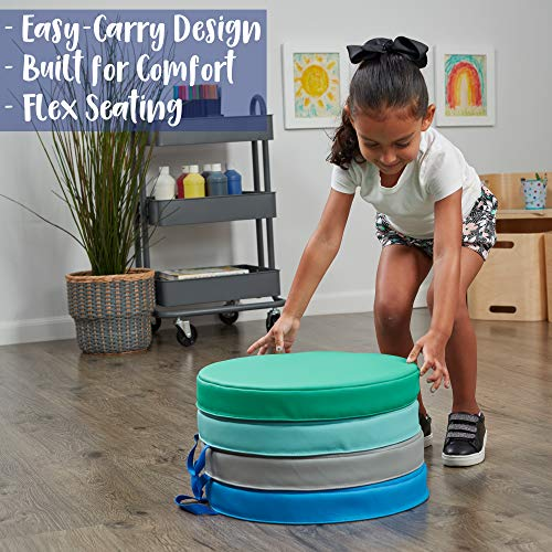 """ECR4Kids SoftZone Cozy Floor Seat Cushions with Handles, 2"""" Deluxe Foam, Flexible Classroom Story Time Seating for Toddlers and Kids, Round, Contemporary (4-Pack) by ECR4Kids (Image #2)"""
