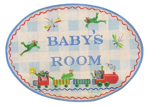 The Kids Room by Stupell Baby's Room with Frogs On A Train Oval Wall Plaque, 10 x 0.5 x 15, Proudly Made in USA