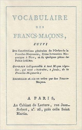 Livre Vocabulaire des francs-maçons epub pdf